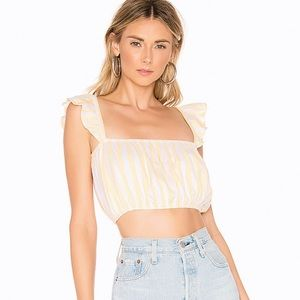 NWT Lovers + Friends Yellow Striped Crop Top